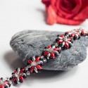 Náramek Stříbročervené květiny